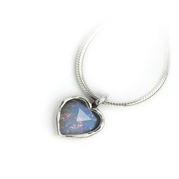 Aviv Silver Opalite Heart Necklace