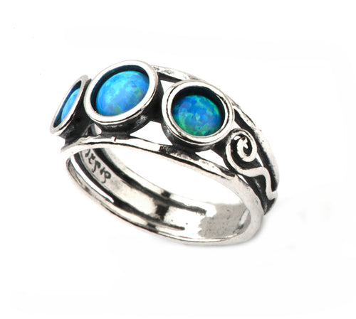 Aviv Silver Three Opal Ring