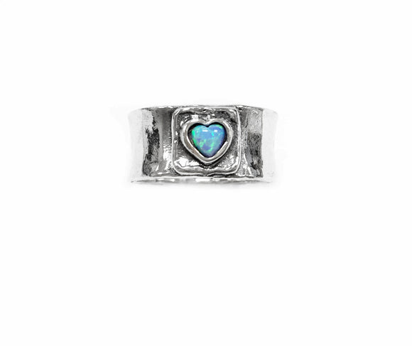 Aviv Silver Band Ring With Opal Heart