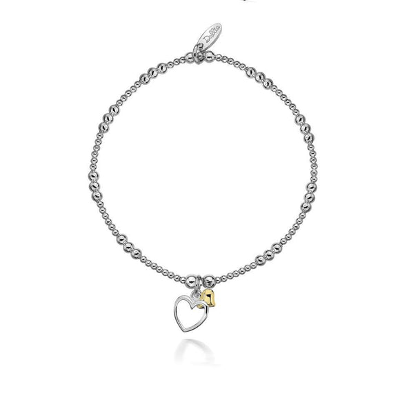 Dollie Silver Alicia Double Golden Heart Bracelet