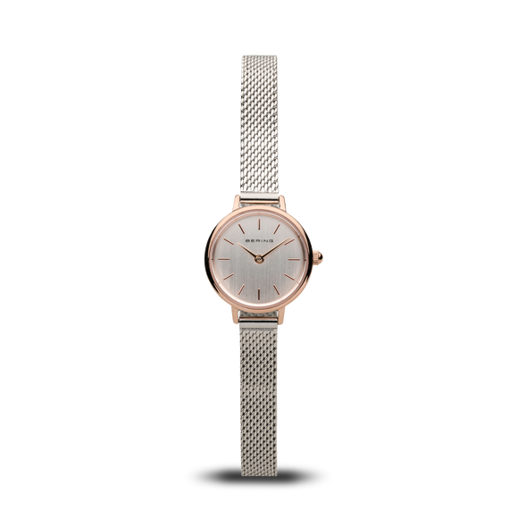 Bering Classic Mesh With Polished Rose Gold Face, 11022-064