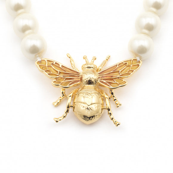 Bill Skinner Gold Plated Queen Bee Pearl Necklace