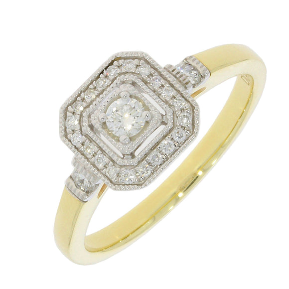 Gold Diamond Halo Square Cluster Ring