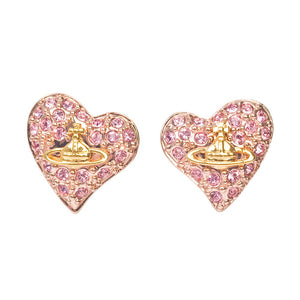 Vivienne Westwood Tiny Diamante Heart Stud Earrings Rose Gold