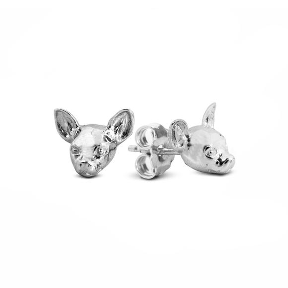 Dog Fever Chihuahua Silver Earrings