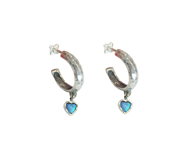 Aviv Silver Hoop Earrings with Opal Hearts