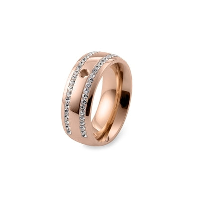 Qudo Deluxe Wide Ring Rose Gold