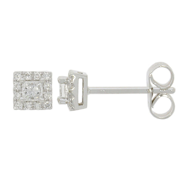 9ct White Gold Diamond Square Earrings