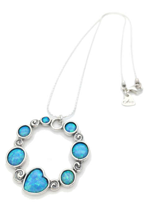 Aviv Silver Opal Circle Statement Necklace