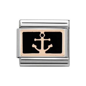 Nomination Rose Gold & Black Anchor Charm