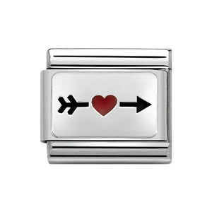 Nomination Silver Arrow With Red Heart Charm