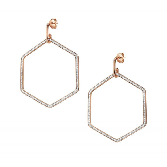 Nomination Emozioni Rose Gold CZ Large Hexagon Drop Earrings
