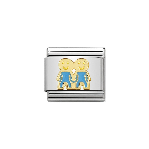 Nomination Gold Blue Brothers Charm