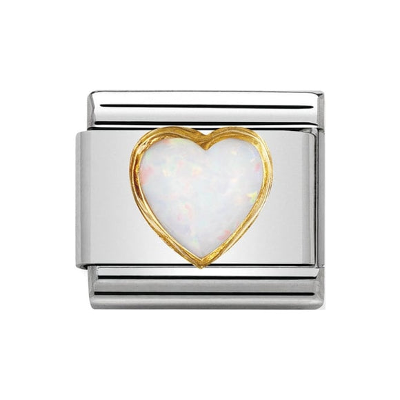 Nomination Gold White Opal Heart Charm
