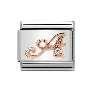 Nomination Rose Gold CZ Letter A Charm