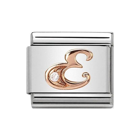 Nomination Rose Gold CZ Letter E Charm