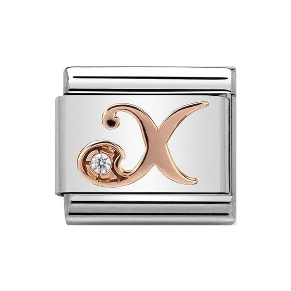 Nomination Rose Gold CZ Letter X Charm