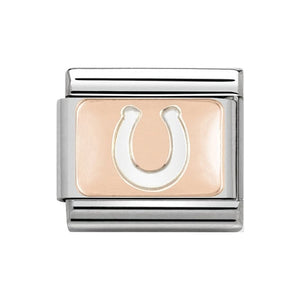 Nomination Rose Gold Horseshoe Plate Charm