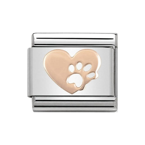 Nomination Rose Gold Paw Print Heart Charm