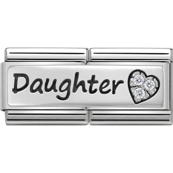 Nomination Silver CZ Daughter Heart Double Charm