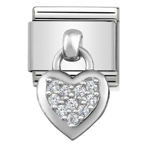 Nomination Silver CZ Heart Drop Charm