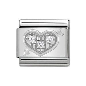 Nomination Silver CZ Heart With Arrow Charm
