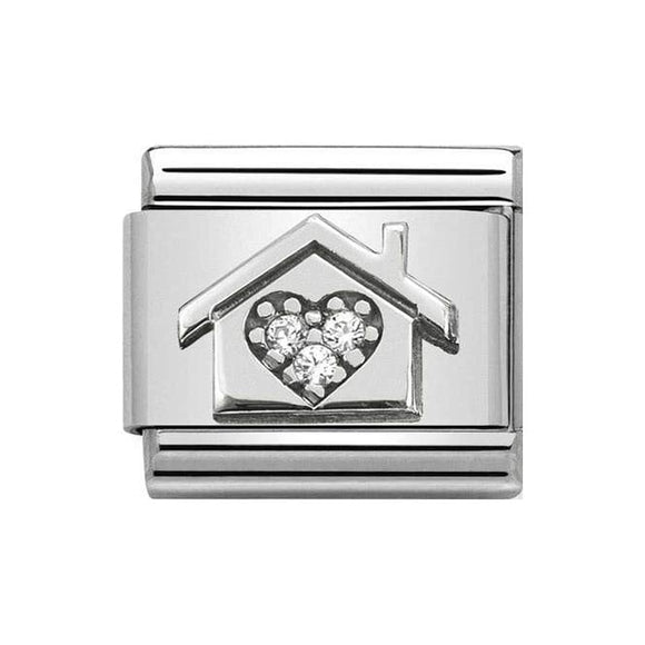 Nomination Silver CZ Home With Heart Charm