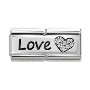 Nomination Silver CZ Love Heart Double Charm