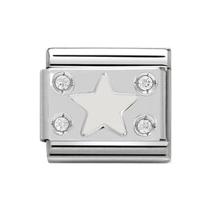 Nomination Silver CZ White Star Charm