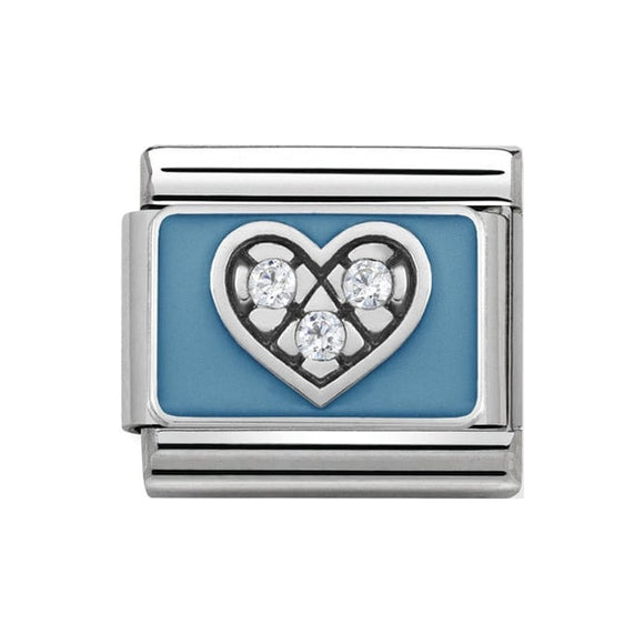 Nomination Silver Light Blue With CZ Heart Charm