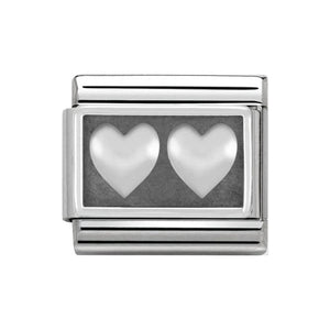 Nomination Silver Oxidised Double Heart Plate Charm
