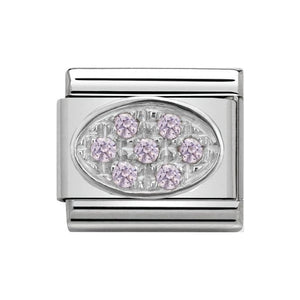 Nomination Silver Pink CZ Oval Charm