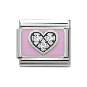 Nomination Silver Pink With CZ Heart Charm