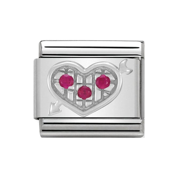 Nomination Silver Red CZ Heart With Arrow Charm