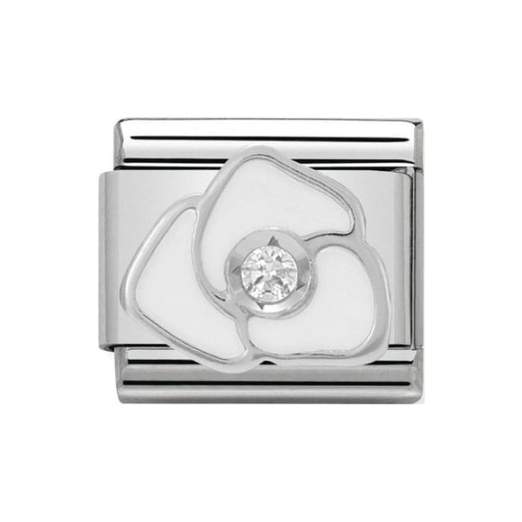 Nomination Silver White CZ Rose Charm