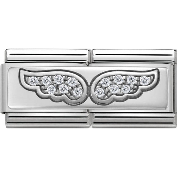 Nomination Silver CZ Angel Wings Double Charm
