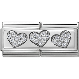 Nomination Silver CZ Three Hearts Double Charm
