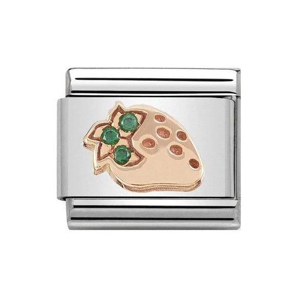 Nomination Rose Gold Green CZ Strawberry Charm