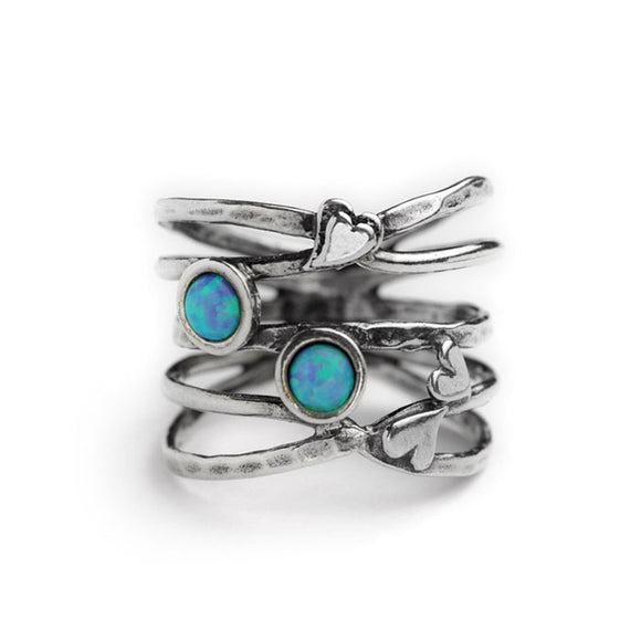 Aviv Silver Hearts and Opals Ring
