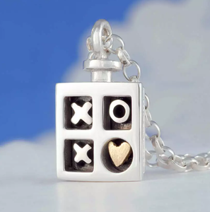 Alan Ardiff Silver and 18ct Hugs And Kisses Necklace