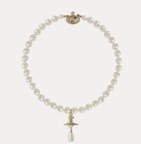 Vivienne Westwood one row pearl drop choker gold