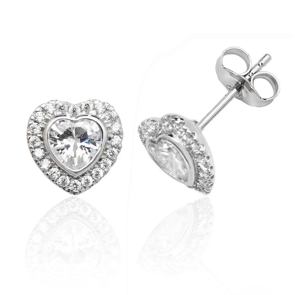 Silver Bezel Set Heart CZ Halo Earrings