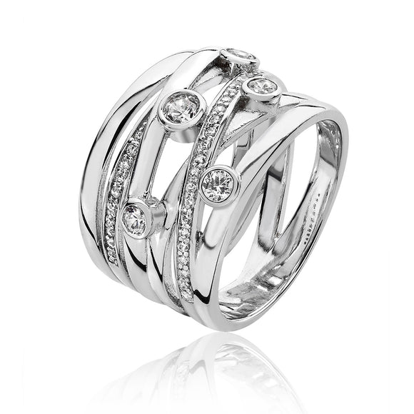Silver CZ Multi Crossover Wide Ring