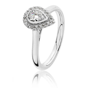Silver CZ Pear Shaped Halo Ring