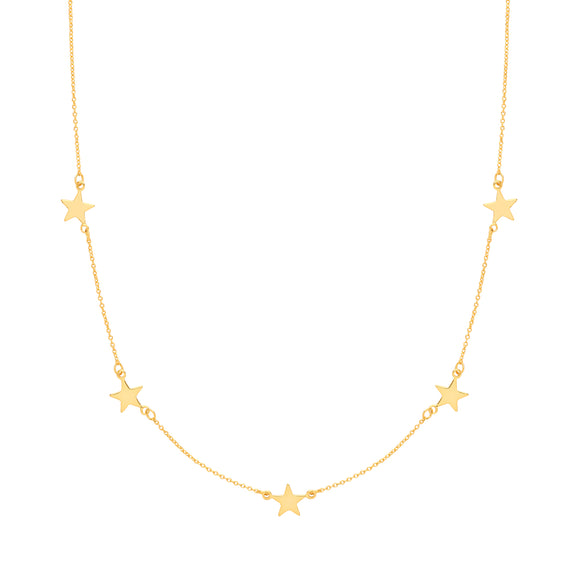 Silver Gold Plated Stars Necklace