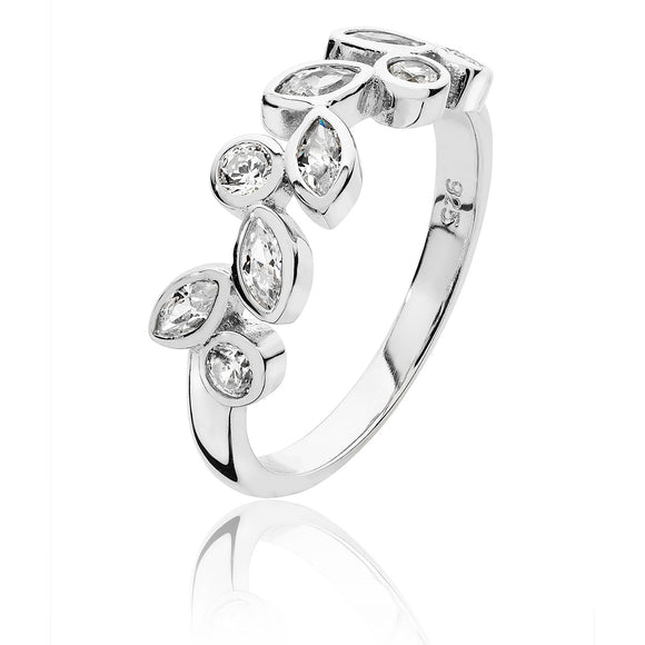 Silver Round & Marquise CZ Ring