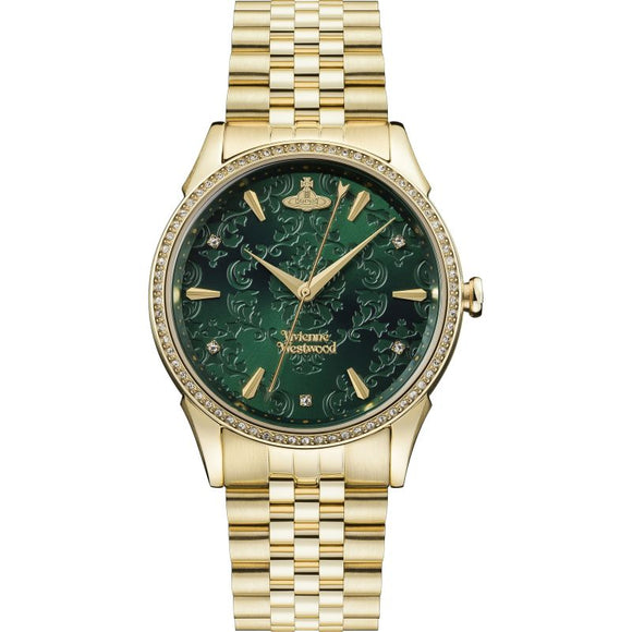Vivienne Westwood Wallace Green And Gold Watch VV208GDGD