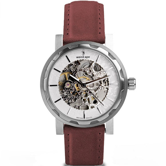 Weird Ape Kolt - White Silver / Royal Blood Leather Watch