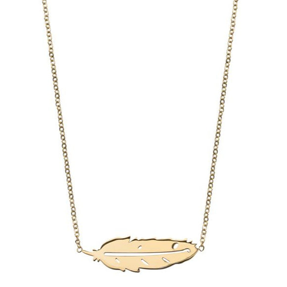 Edblad Feather Necklace Short Gold