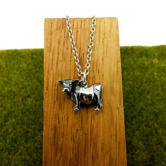 silver belted galloway pendant